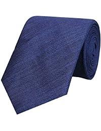 Tiekart Blue Classic Formal Plain Solid Linen Tie for Men