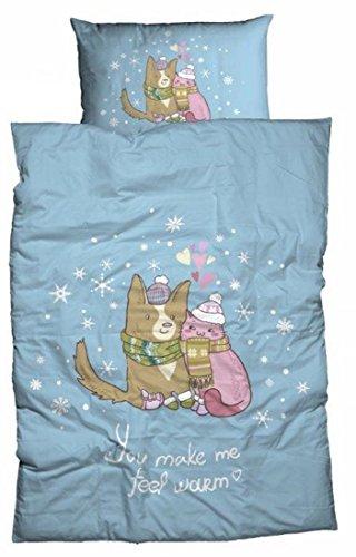 Casatex Fein-Biber-Bettwäsche You Make me Feel warm 155x220 cm Hund & Katze in Love blau