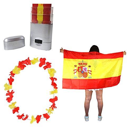 Sonia Originelli Fan-Paket-11 WM EM Fußball Fan Hawaiikette Schminkstift Poncho Farbe Spanien