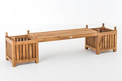 CLP Teak-Holz Gartenbank / Blumenkasten Set BALDRIAN, 2 in 1: Gartenbank + 3 Blumenkästen teak - 6