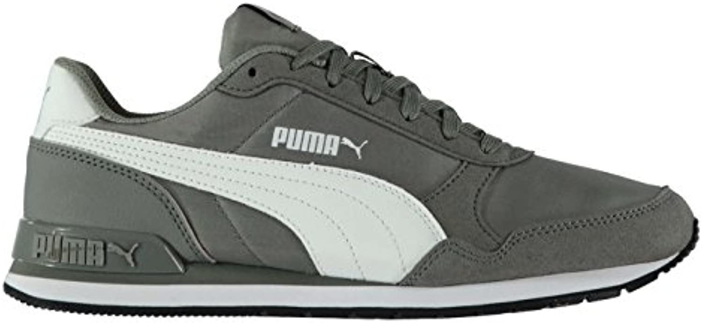 Puma ST Runner Nubuk Leder Turnschuhe Herren grau/weiß Athletic Sneakers Schuhe