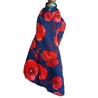 Bold Poppy Scarf - Lovely Big Bold Poppies adorn this lovely scarf - Navy Blue
