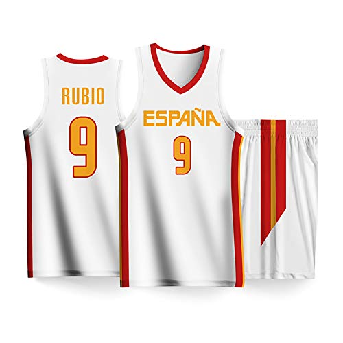 Nr.9, Nr.13 Spanien Team 2019 FIBA   Basketball WM Basketball Kostüm Set, Weste Top Ärmelloses T-Shirt Herren Sportswear Shorts-White9-3XL -