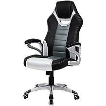 Songmics racing sport Fauteuil de bureau Chaise pivotante Dossier haut simili cuir résistant à l'usure ergonomique noir-argent-gris OBG29S