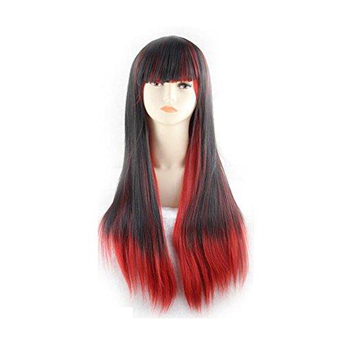 Beatayang Fashion Perruque Postiche européennes Cosplay /Les cheveux raides cheveux longues Rouge&Noir