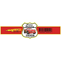 WoW Party Studio Personalized Disney McQueen Car Theme Birthday Party WristBand With Birthday Boy/Girl Name (Pack of 10)