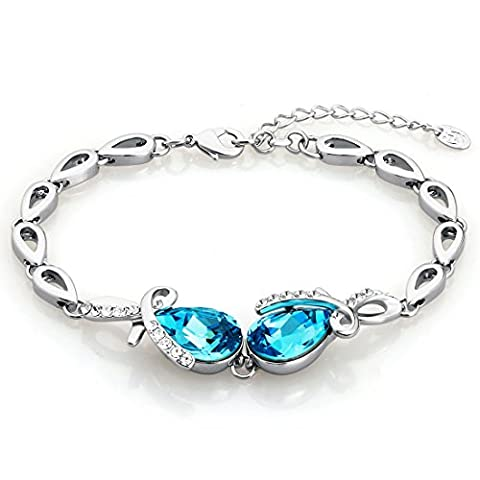 Neoglory Jewellery Eternal Love SWAROVSKI Elements Aquamarine Crystal Teardrop Charm Bracelet for Women In Casket