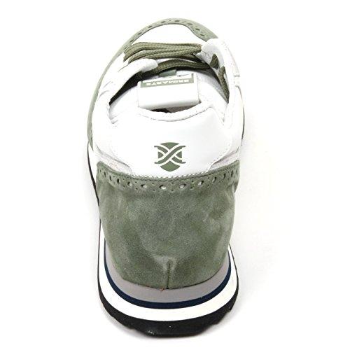 C2386 sneaker uomo BRIMARTS scarpa bianco/verde fondo gomma shoe man Verde/Bianco