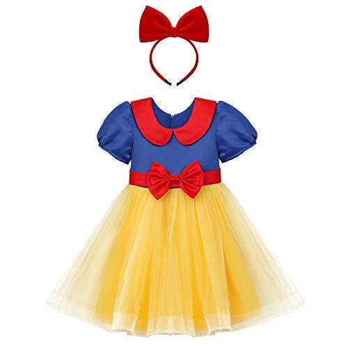OBEEII Mädchen Kurzarm Prinzessin Kleid Schneewittchen Puffärmel Musselin Falten Kostüme Halloween Cosplay 3-4 Jahre