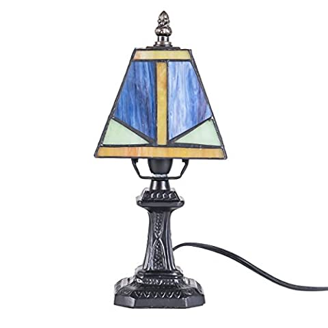 Vintage Tiffany Style Stained Glass Bedroom Bedside Corner Table Desk Small Lamp T8809, Lampshade Dimension: 5