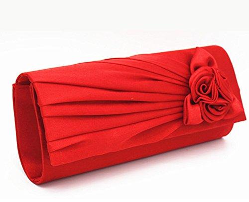 Nuziale Borsa Fiore Rosa Sacchetti di Sera Cena Frizioni per Donne Tracolla Borsa rosso