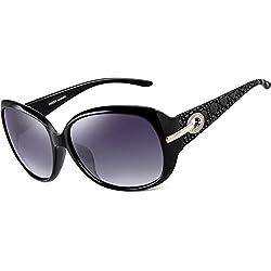 ATTCL® Mode Polarisiert UV400 Plaid Oversize Damen Sonnenbrillen 6214 Schwarz