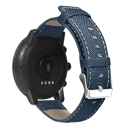 BASSK - Cinturino di Ricambio in Pelle Resistente di Tela per Xiaomi Huami AMAZFIT Stratos 2 2S/Pace 22 mm