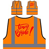 Team Bride Pink Lady Personalized Hi Visibility Orange Safety Jacket Vest Waistcoat p140vo