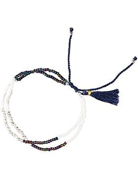 Silber Behandlung Türkis Kristall Wulstig Seil Doppelt Strand Armband Handgewebt Mode Strand Schmuck