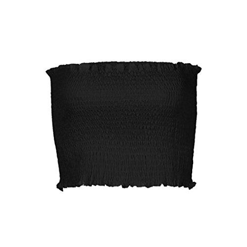 OVERDOSE Frauen trägerlosen Elastischen Boob Bandeau Tube Tops BH Dessous Brust Wrap Bluse Sommer Basic Tops (A-Black,EU-38/CN-M) (Machen Bauchtanz-bh)