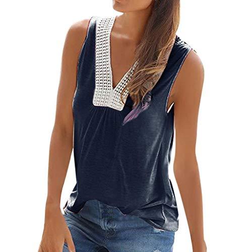 CAOQAO Lose Bluse T-Shirt Kurzarm Oberteil Damen BeiläUfige Feste Strand-Spitze Sleeveless V Ansatz TräGershirts Weste T-Shirt Bluse (Mensch Und Hund Kostüm Ideen)