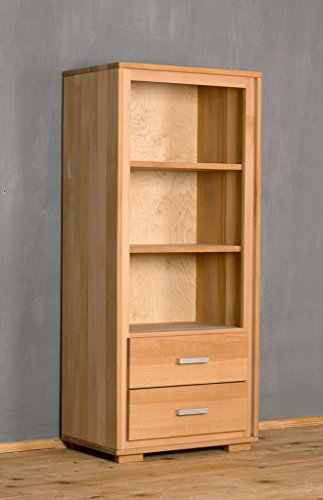 Regal Genf 139 cm 2 Schubläden - Kernbuche Massivholz geölt/gewachst, Ausführung der Schubladen:mit normalen Auszug -