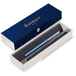 Waterman Graduate Allure - Pluma estilográfica, lacado azul, plumín mediano, estuche de regalo, tinta azul
