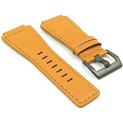StrapsCo Orange Genuine Leather Watch Band for Bell & Ross w/ Matte Black Buckle 24mm