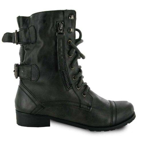 New Ladies Chaussures de travail cargo militaire armée Tailles :  3–8 Gris - Gris foncé