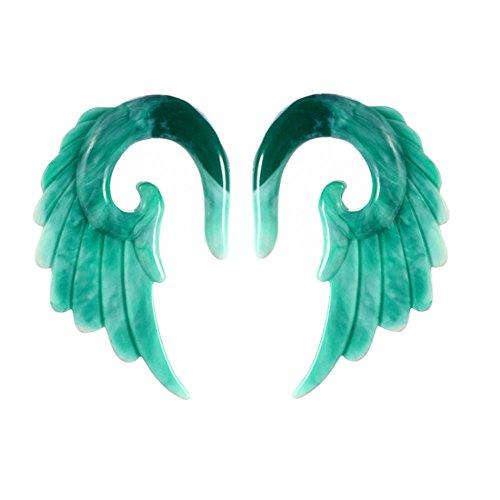 Yzibei Expansor de Oreja Piercing 2pcs acrílico Espiral Taper Piercing Ear Plug Camilla, Vintage Angel Wing (Color : Verde, tamaño : 8mm)