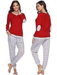 03033c15ea486 Abollria Ensemble de Pyjama Femmes Coton Vêtement de Nuit à Pois Vêtement  d'Intérieur Femme