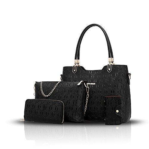 Sunas 2017 le nuove donne delle borse delle donne 4 insiemi del raccoglitore diagonale della borsa del pacchetto di spalla di temperamento del sacchetto delle donne nero