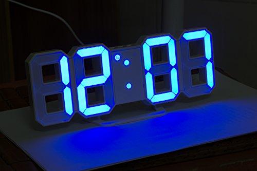 LED Wecker mit 3 einstellbaren Helligkeitswecker, Timorn blau LED Licht Wecker, Tischuhr, LED Wanduhr (Blau)