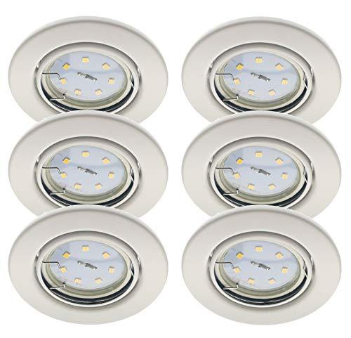 Trango conjunto de 6 Luz LED empotrable Focos de techo empotrados giratorios,...