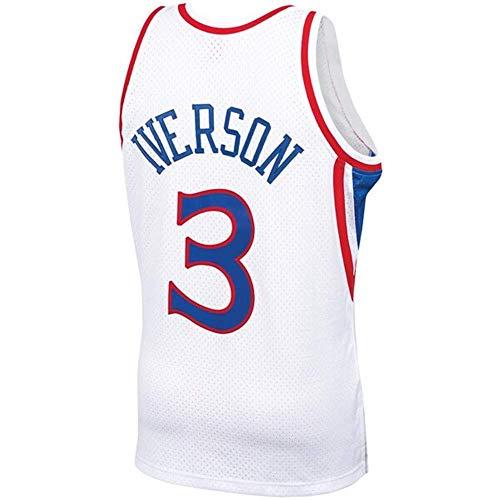 Nemwy Herren_Jugend_Allen_Iverson_#3_Weiß_Sportbekleidung_Ausbildung_Basketball_Jersey S-XXL