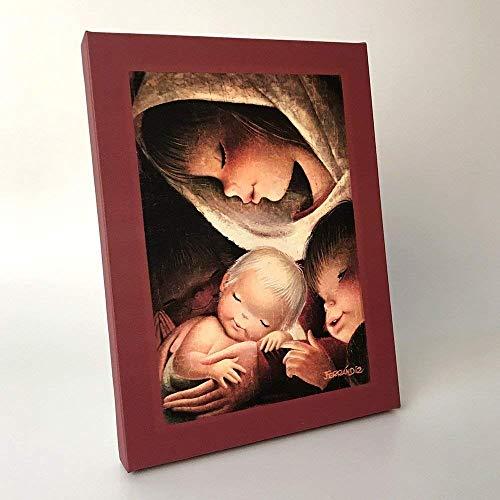 Virgen color 30x40cm. Ilustración de Juan Ferrándiz impresa en lienzo. Serie limitada y numerada. Regalo Comunión y Bautizo