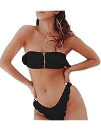 JIANGfu Bikini Femme Rembourré Solide Maillot de bain Push Up Dos Nu Halter Grande Taille Beachwear Elegant Amincissant Plage (M, Vert)