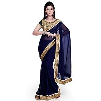 Janasya Women's with Blouse Piece Chiffon Saree (JNE0694_Blue_Free Size)