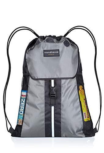 Premium Quality 5 Pocket, Wasserdichte, Turnbeutel Hipster Unisex Sporttasche Rucksack Schwimmen Sackpack Sporttasche PE Sporttasche w / Reflektierende Band Wandern Tasche für Erwachsene und Kinder - Mikrofaser Drawstring-rucksack