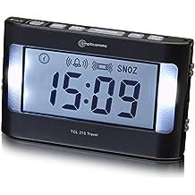 Amplicom TCL 210 Travel - Despertador (LCD, Azul, Negro) (importado)
