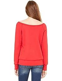 Bella womens Sponge Fleece Wide Neck Sweatshirt(7501)-RED-L