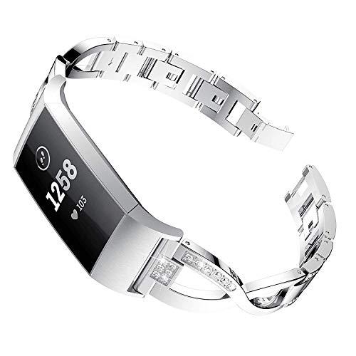 Reety kompatibel für Fitbit Charge 3 Strap, Edelstahl verstellbares Diamant X Kette Kreuz Zubehör für Fitbit Charge 3 & SE Strasssteine Schmuck für Frauen (Silber)