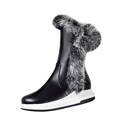 BHYDRY Schuhe Runder Kopf Steigung Mode Elegant Seitliche ReißVerschlüSse Warmhalten Süß MäDchen Mittlere Stiefel Der Frauen Flacher Boden Niedrige Ferse