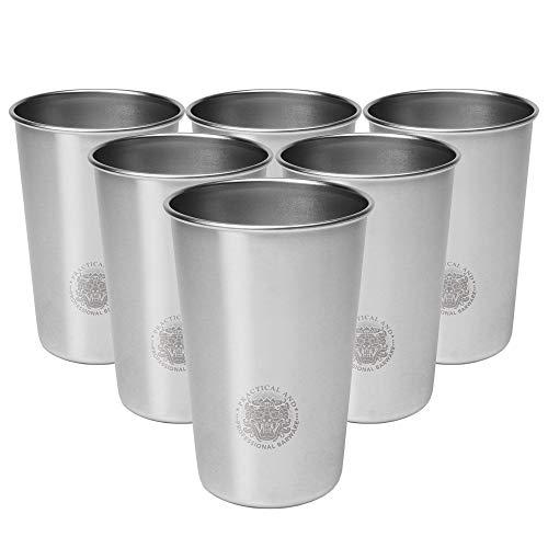 CCMOO 6 stücke 450-500 ml Edelstahl Tassen Kaffee Saft Bierglas Teil Whisky Tassen Tumbler Pint Metall Küche Bar Trinken Becher