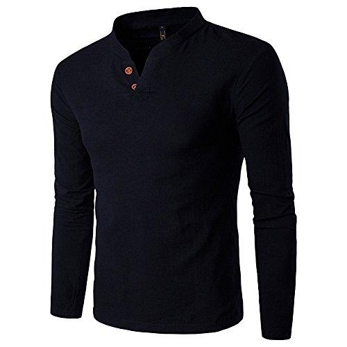 CTOOO Herren Langarmshirt V-Ausschnitt Baumwolle und Leinen T-Shirt Anzug Plus Größe Casual Top Slim Fit (Casual Leinen-anzug)