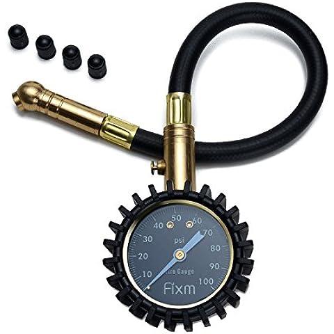FIXm 100PSI Manómetro de Neumático para Coche de Alta presión con Tapas de Válvulade de Deber Pesada, Excelente para Coches, Camiones, Bicicletas y Motocicletas, RV, SUV y