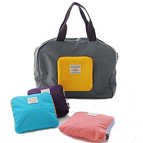 iLory Männer / Frauen-Handtaschen wasserdichte Falte Spielraum Beutel Multifunktions Reißverschluss Spielraum-Schulter Lagerung Reisetasche aus (Sky Blue) Gray