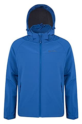 Mountain Warehouse Exodus Men's Soft-shell Jacket - Breathable, Trendy & Practical Design, Windproof & Water Resistant, Adjustable Hem, Hood & Cuffs - Great for everyday use Dark Blue