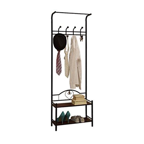 SKC Lighting-Porte-manteau Porte-manteau en métal style moderne minimaliste salle étagère à chaussures étagère à chaussures combinaison multi-usage stockage simple rack noir blanc (59 * 24 * 175cm) ( Couleur : Noir )