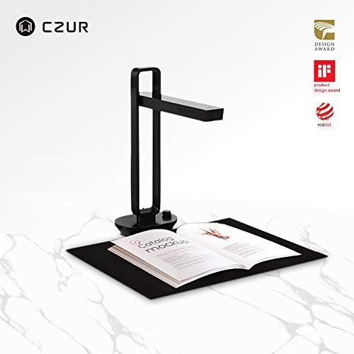 CZUR Aura Pro Tragbarer Buch Dokumentenscanner mit OCR für Win und Mac, HD Dokumentenkamera für A3 A4, 4 Farb 6 Helligkeitsstufen Led Schreibtischlampe