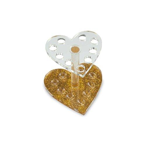 N&BF Pinselständer Herz-Form   Aufbewahrungs-Behälter für Nagelfeilen, Pinsel und Schminkpinsel   Hygienebox für Nailart und Nageldesign Werkzeuge   Arbeitsmaterial Halter