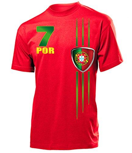 Portugal Fanshirt Fan Shirt tshirt Fanartikel Artikel Streifen 3215 Fussball Männer Herren T-Shirts Rot XL