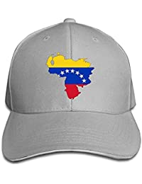 Bgejkos Mapa de la Bandera de Venezuela Algodón Sándwich para Adultos Gorra de Pico Sombrero Deportivo