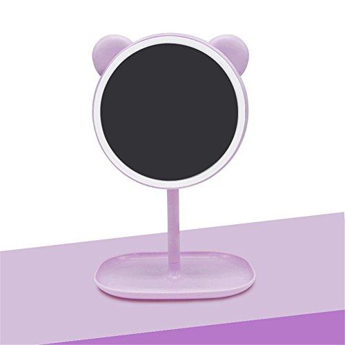FONKIA LED Make-up Eitelkeit Spiegel USB Wiederaufladbare Drahtlose Schlafsaal Prinzessin Licht,Purple -